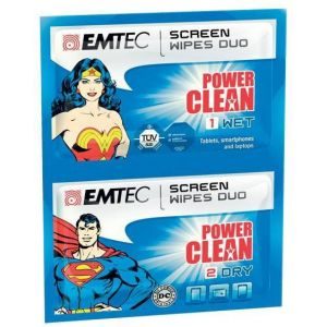 EMTEC Duo wipes. Superman and Wonder Woman